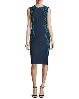 Sleeveless Embroidered Sheath Dress, Green