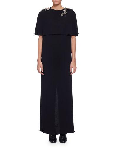 Embellished Round-Neck Capelet Gown, Black (Noir)