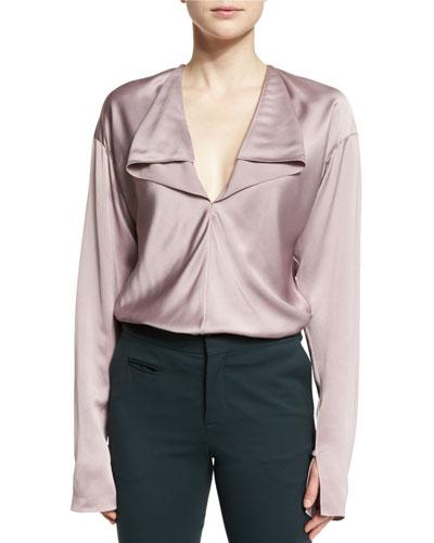 Long-Sleeve Cascading Ruffle Blouse, Blush