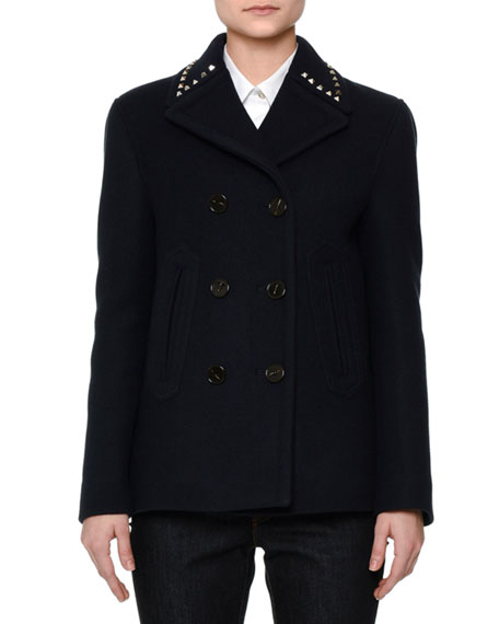 Wool Pea Coat w/Rockstud Collar, Navy