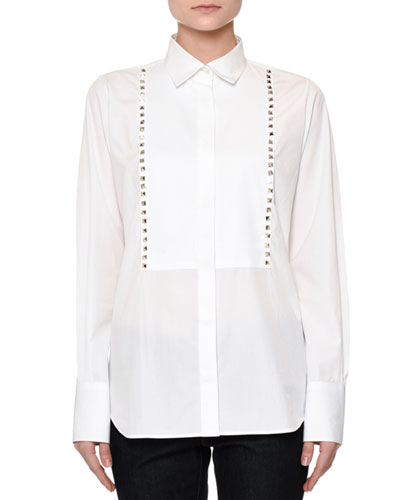Long-Sleeve Rockstud-Bib Blouse, White