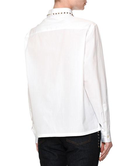 Long-Sleeve Rockstud-Trim Blouse, White