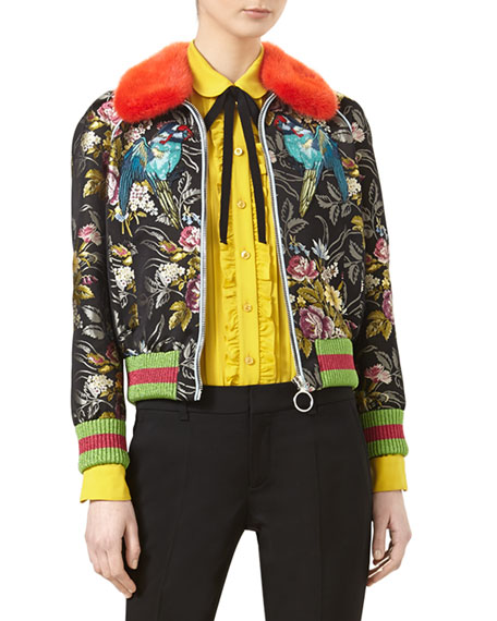 Romantic Bouquet Silk Jacquard Bomber with Mink Fur Collar