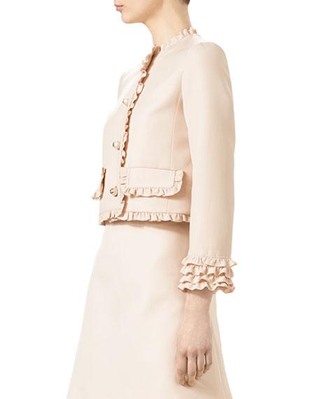 Cady Crepe Wool Jacket, Gardenia