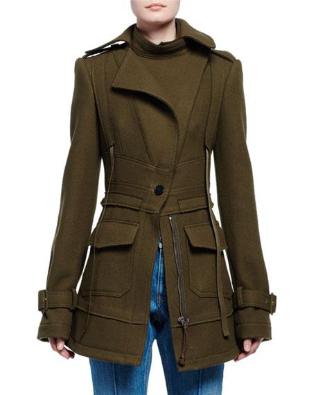 Felted Wool Two-Pocket Cargo Jacket, Olive
