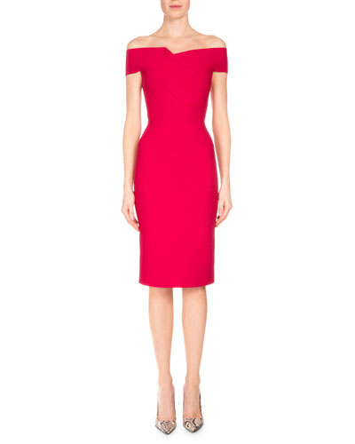Folded Off-the-Shoulder Sheath Dress, Raspberry
