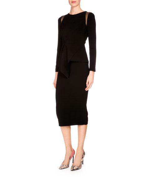 Wool Crepe Pencil Skirt, Black