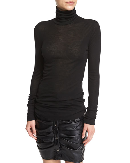 Joey Long Jersey Turtleneck Top, Black