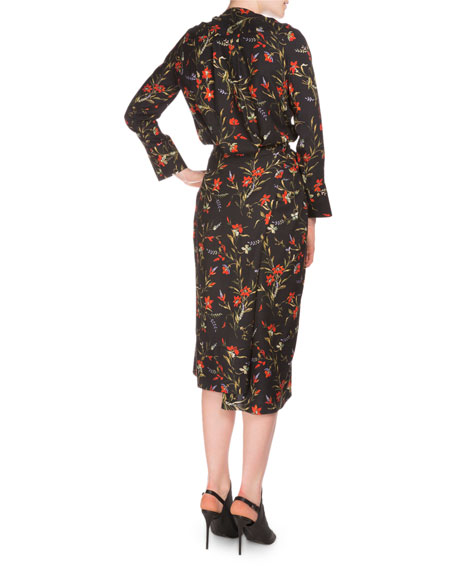 Long-Sleeve Floral-Print Wrap Dress, Black