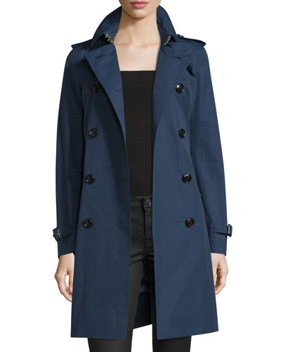 Kensington Woven Cotton Trenchcoat, Ink Blue
