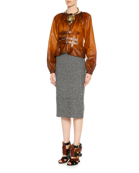 c4f0d1790f TOM FORD High-Waist Tweed Pencil Skirt