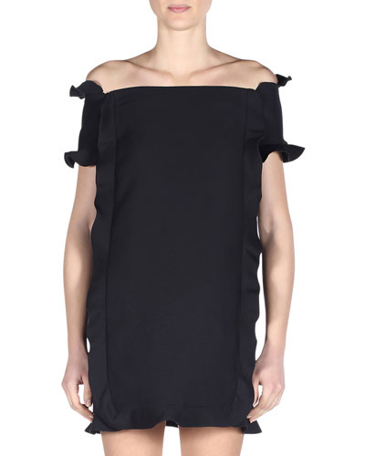 Off-the-Shoulder Ruffled Wave-Trim Dress, Black