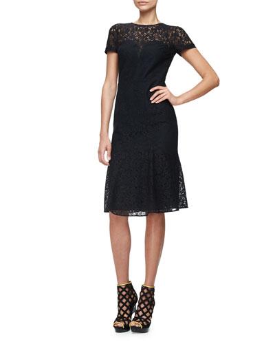 Short-Sleeve Lace Illusion Dress, Black