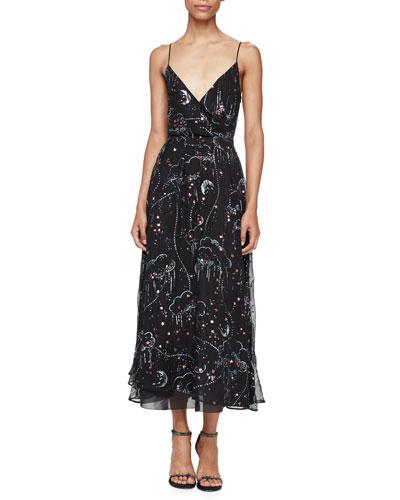 Embellished Glitter Clouds Midi Wrap Dress, Black