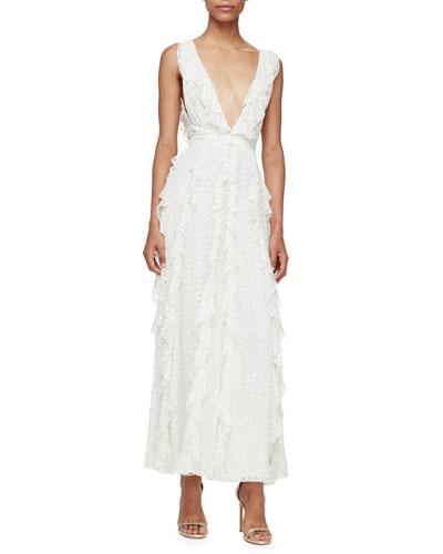 Sleeveless Ruffled Swiss Dot Midi Dress, ivory