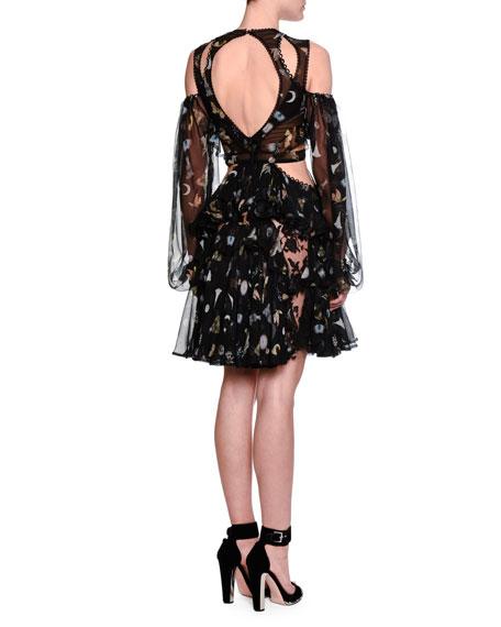 Cutout Obsession-Print Chiffon Dress, Black