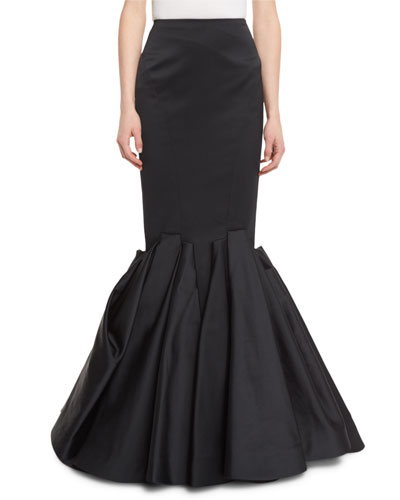 Duchess Satin Trumpet Evening Skirt, Black