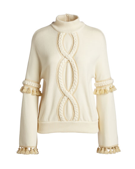 Cable-Trim Mock-Neck Sweater