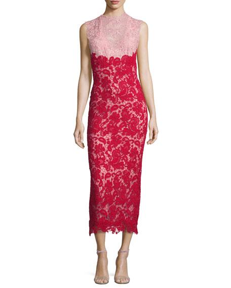 Sleeveless Bicolor Lace Midi Dress, Blush/Cherry