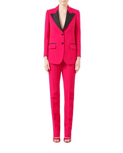 Wool-Silk Straight-Leg Pants