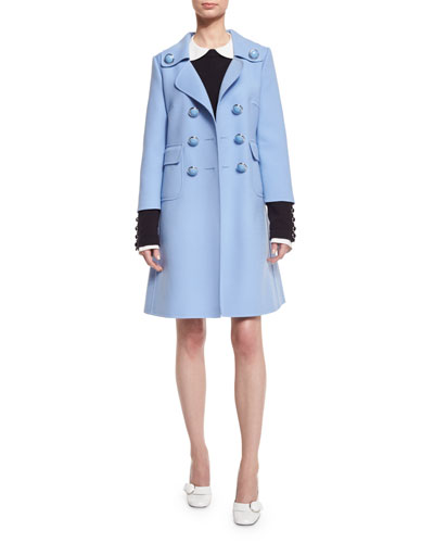 Double-Breasted Wool-Blend Coat, Blue