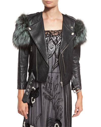Fox Fur-Trim Leather Jacket, Black