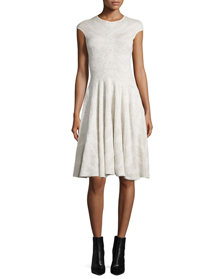 Alexander McQueen Cap-Sleeve Spine Lace Dress, Ivory
