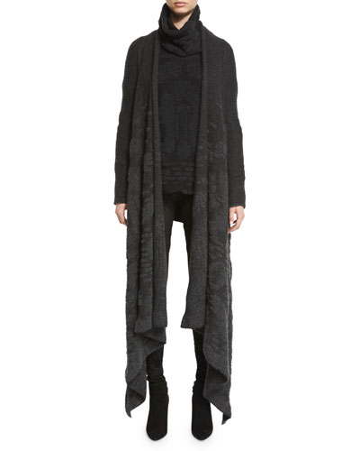 Long Cashmere/Silk Knit Coat, Dove Gray