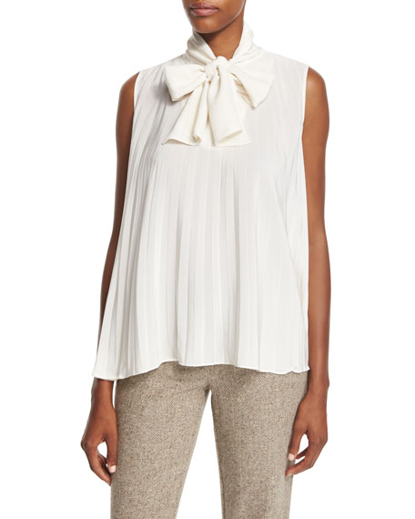 Pleated Tie-Neck Silk Blouse, Ivory