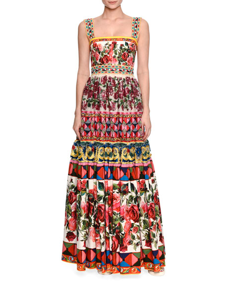 Embellished Long Peasant Gown, Pink Print/Multi