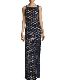Circle Paillette-Embellished Column Gown, Navy