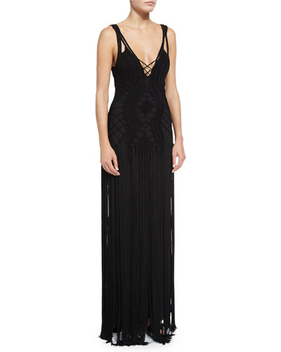 Crocheted Sleeveless Cami Gown, Black
