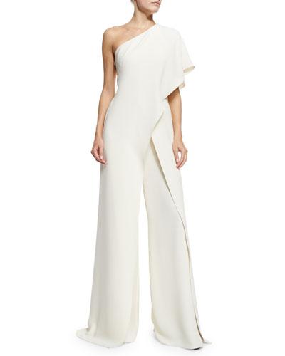 One-Shoulder Silk Crepe Jumpsuit, Ivory