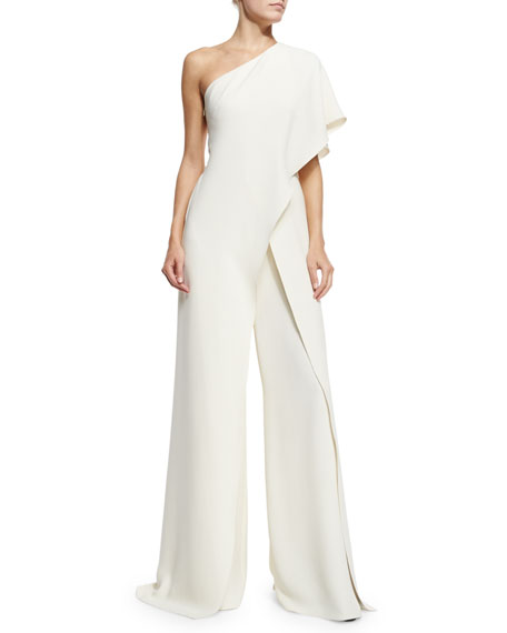 One-Shoulder Silk Crepe Jumpsuit, Ivory