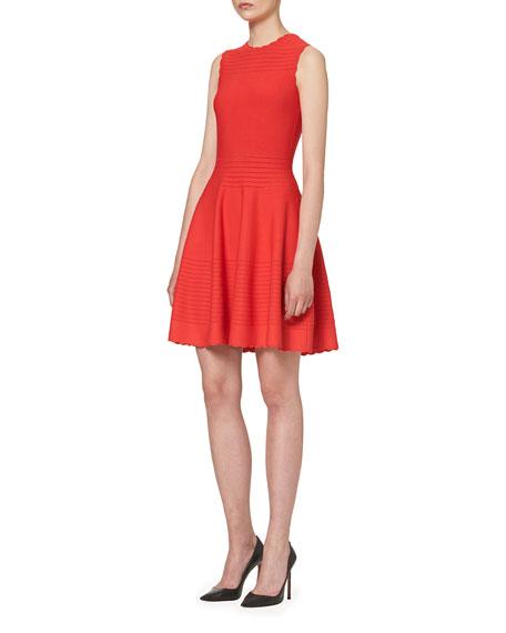 Scalloped Sleeveless Knit Dress