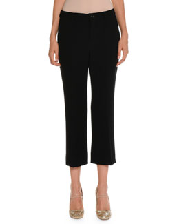 Cropped Cady Flare-Leg Pants, Black