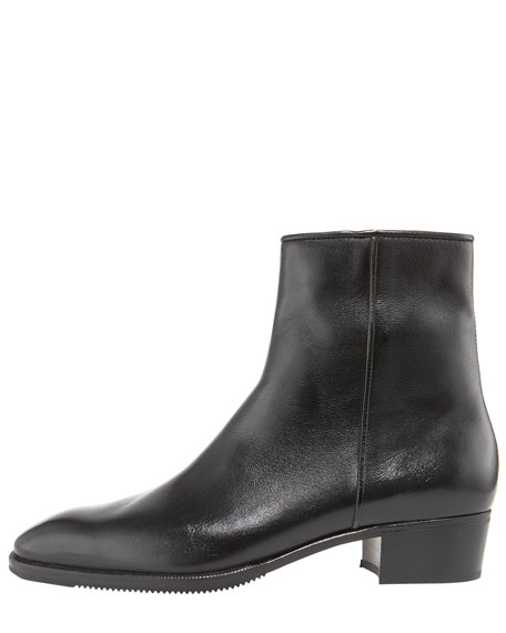Low-Heel Zip Ankle Boot