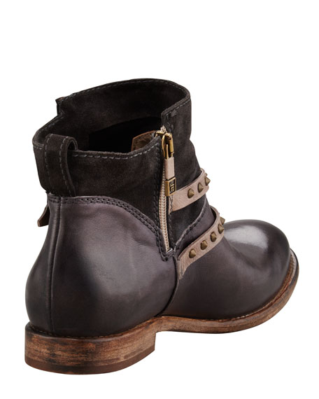Emma Stud-Strap Flat Boot, Anthracite