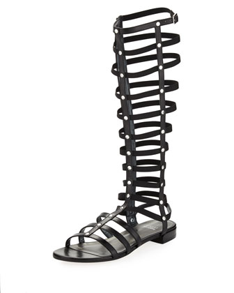 Gladiator Tall Leather Sandal, Black (Made to Order)