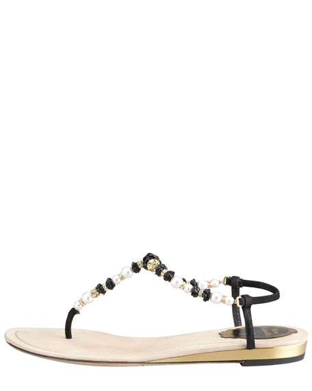 Crystal and Floral-Beaded Thong Sandal, Pink