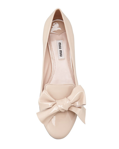 Patent Leather Smoking Slipper with Bow, Natural