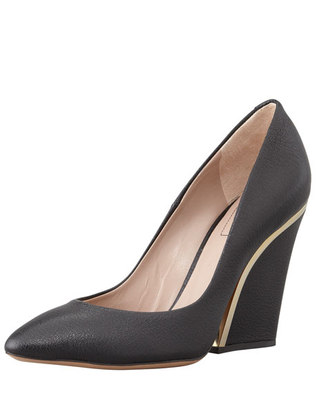 Golden-Heeled Leather Wedge Pump, Black