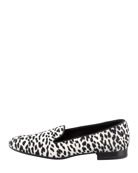 Corda Snow Leopard Calf Hair Smoking Slipper