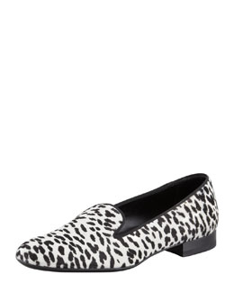 Saint Laurent Corda Snow Leopard Calf Hair Smoking Slipper