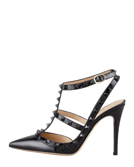 Noir Rockstud Leather Sandal