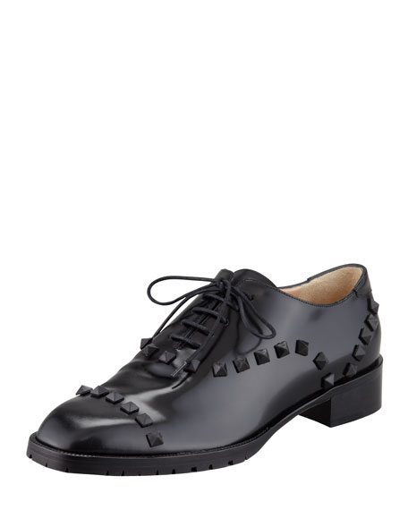 free shipping get authentic discount explore Valentino Leather Rockstud Oxfords store sale online 100% original online TZ3y785