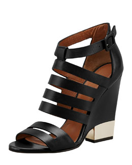 Givenchy Leather Cage Wedge Bootie, Black