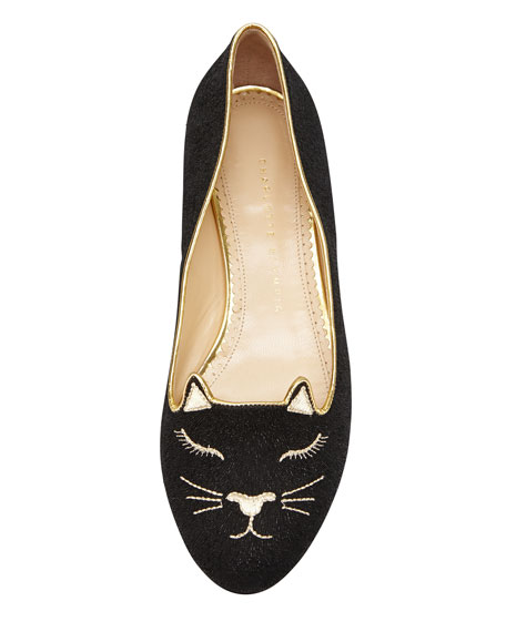 Sleeping Kitty Embroidered Suede  Slipper, Black