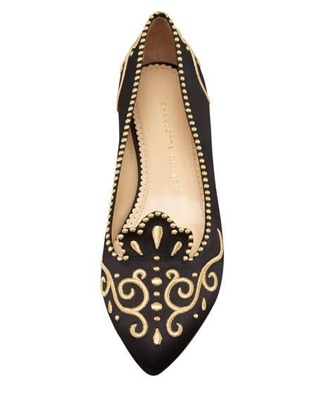 Countessa Crown Embroidered Satin Flat