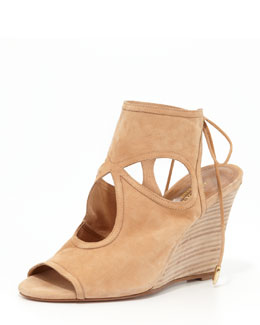 Aquazzura Sexy Thing Suede Wedge Sandal, Nude